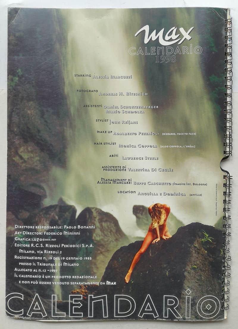 Marcuzzi Calendario.Calendario Max 1998 Alessia Marcuzzi Foto Di Andreas H Bitesnich