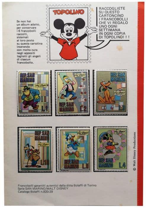 Cartolina raccoglitore fancobolli disney san marino contenuta nel numero 804 di topolino libretto